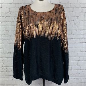 Attitudes by Renee Rose Gold Black Sweater Size XL